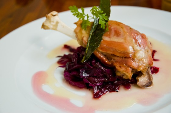Slow cooked leg of pork with Red Cabbage in Honey