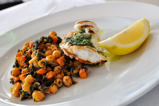 Chargrilled cornish monkfish with 'inzimino' of chickpeas, chard, chilli, carrots and lemon