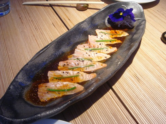 Sun-kissed salmon sashimi