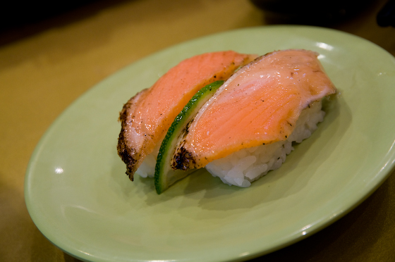 Seared salmon with skin on sushi