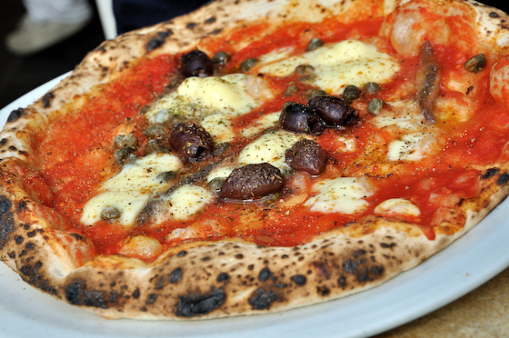 Pizza, anchovies, olives