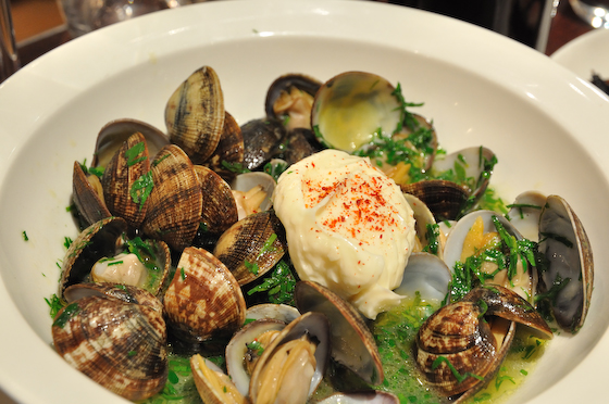 Clams, garlic mayo broth