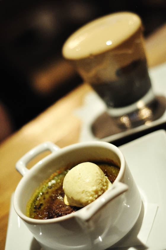 Macha Brulee with Sesame Pannacotta