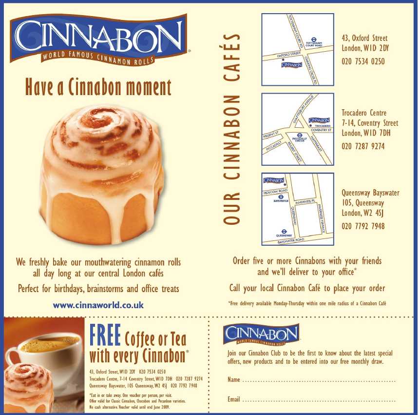 Free coffee with Cinnabon Purchase