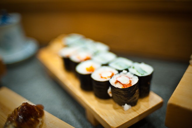 Sushi Hiro: Crab roll and Squid and Shiso roll