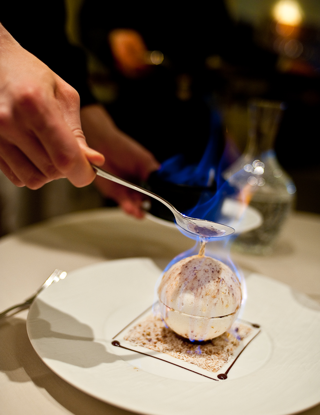 Eastside Inn: Whisky Flamed Meringue, Chestnut, Pop rocks.