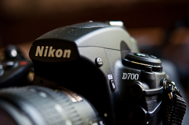 The Nikon D700. Digital camera with full frame sensor equivalent in size to 35mm film